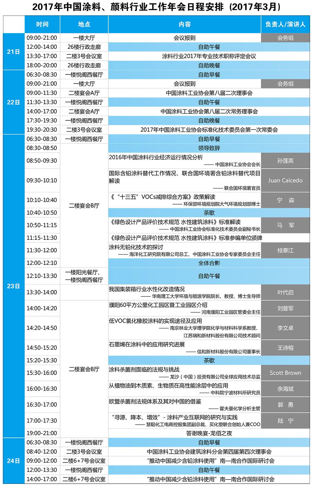 2017年中国涂料、颜料行业工作年会会议日程表